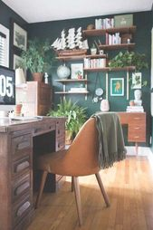 Photo of Moody office with walls painted in Benjamin Moore's Hunter G…