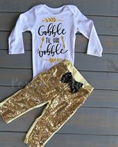 Gobble Til You Wobble Outfit, Girls' Thanksgiving Outfit, Baby's First Thanksgiving, Baby Girl Outfit – Baby