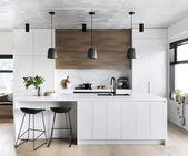 A modern kitchen with a timeless palette