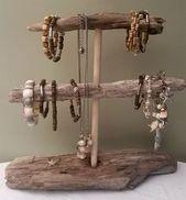 DIY Cute Driftwood Jewelry Driftwood Bracelet Holder Organizer by ShiverMyTimb …