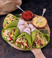 Gebratene Spinattortillas mit 3 Zutaten (Kichererbsenmehl, Tapiokamehl, …