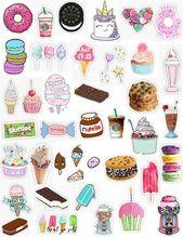 Sweet Tumblr Food Dessert Sticker Pack Donut Sticker Starbucks Sticker Cake Stick – Drawing – #Cake #Dessert #Donut #Eating #pack
