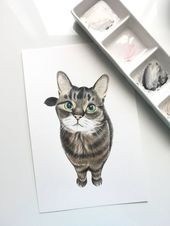 Volles Haustierkörperporträt, kundenspezifische Haustierzeichnung, Aquarellmal…