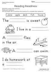 Snapshot image of Reading Readiness Worksheet 1 | English ...