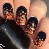 Black And Orange Sparkly Nails  nails nail fall nail art nail ideas fall nails