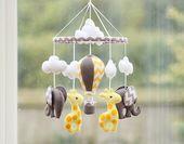 Baby Mobile – Elefant Giraffe Mobile – Heißluftballon – gelb grau Chevron – Kindergarten Mobile – Baby-Dusche-Geschenk – Massanfertigung   – Nähkram, Schnitte, Anleitungen & Co