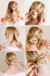 Einfache Hochsteckfrisuren für dünnes Haar   – Aussehen