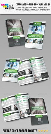 Creative Corporate Bi-Fold Brochure Vol 24 Features: Layered PSD. Fully Editable Files 8.5″ x 11″ (8.75″ x 11.25″ with bleeds.)300