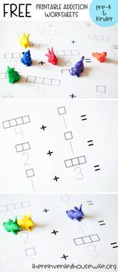FREE printable addition practice worksheet from The Reinvented Housewife! free p…