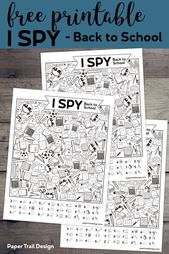 Free Printable I Spy Back to School Activity. Classroom themed activity or game idea for the first day of school for students. #papertraildesign #firs…