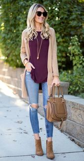 Women's Fall Cardigan Sweater Outfits With Jeans