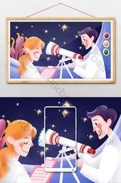 Texture illustration technology researcher man woman telescope illustration | Illustration PSD Free Download – Pikbest