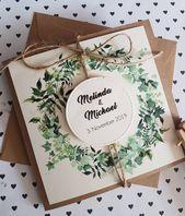 10x Wedding Invitations,Leaves Plants,Vintage, Wedding Invitation, Baptism Flower Wreath Kraft Paper Jute Boho with Print