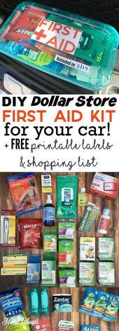 Trousse de premiers soins DIY Dollar Store pour votre voiture + étiquettes imprimables et listes d'achat GRATUITES   – Camping