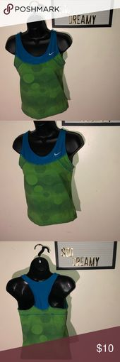 NIKE Blue & Green Circle & Lines Tank Top Ok condition has some wear  🚫 NOT T…
