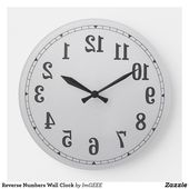 Reverse Numbers Wall Clock Zazzle Com With Images Clock Wall Clock Custom Wall Clocks
