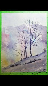 Painting A Winter Watercolour Landscape Landscape Painting