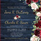 Rustikale Marine Floral Herbst Hochzeitseinladung, Burgunder, erröten, Marineblau, Rosen, Scheunenholz, Golddruck, schimmernde, gedruckte Einladung, Hochzeitsset   – wedding