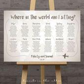 Weltkartenhochzeits-Sitzplan, Reisethema-Stadtbestimmungsorttabellenzuordnung Hochzeitsdekoration kennzeichnet Tabellennamen großen Plan diy DIGITAL   – WEDDING IDEAS