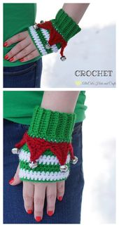 6 Christmas Fingerless Mittens Free Crochet Patterns & Paid