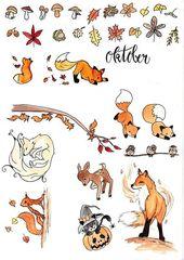 #Herb #herbstwald #stickerset Stickerei Herbst Schöne herbstliche Sticker für …   – Gardening
