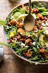 Gebratener Blumenkohlsalat mit cremiger Honig – Senf – Vinaigrette halbgebacken …