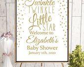 Baby Showers Twinkle Twinkle Little Star Welcome Sign Baby Shower Welcome Sign   Etsy