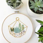 Succulent terrarium embroidery hoop