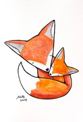 Baby Cards This is a print of my illustration. A red fox mom cuddling her baby fox. It is v...