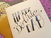 Hand-lettered 'Happy Birthday' Card. Personalised name and colours