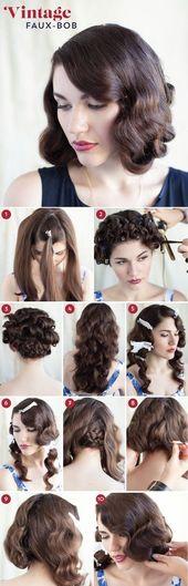 30 DIY Vintage Frisur Tutorials für kurze, mittlere, lange Haare