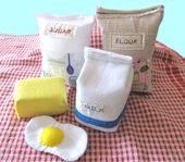 Filz Essen Montessori Filz Milch spielen Lebensmittel Mehl Filz vorgeben Lebensmittel Spielzeug Backen Set Spielzeug spielen Lebensmittel Geschenke für Mädchen