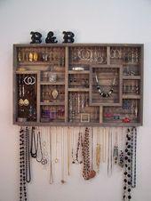 Jewelry Organizer wall hanging by barbwireandbarnwood on Etsy – DIY Jewelry Idea – makeup