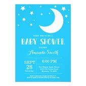 Baby Showers Twinkle Over the Moon Baby Shower Invitation Blue