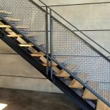 Stainless Steel S 15 Flat Wire Mesh Pattern Was Framed Using And Angle And Bar Frame Assembly In 2020 Interior Railings Metal Deck Railing Stairway Railing Ideas