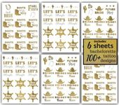 Western Bride Bachelorette Party Tattoos – 100 Team Bride Metallic Temporary Tattoos Gold (6 …