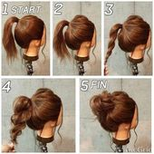 Cute easy and quick hairstyles #long hair #dutt #ponytail #instruction #braiding