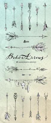 Boho Pfeile. 17 von hand gezeichnete Clipart. Tribal, native diy Elemente, Logo, Einladung, Bleistift, transparent, digitale Png, Stil, Tätowierung, romantisch