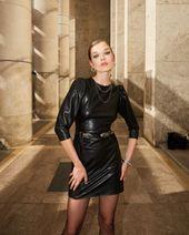 The Kooples Ski kunstleer mini-jurk – zwart   – Products