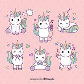 Collection De Personnages De Licorne De Style Kawaii