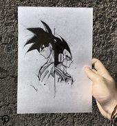 Goku und Vegeta! . . Kunst verfügbar tätowiert zu werden! . . Ich bin wirklich in dieses Projekt! Geschmack