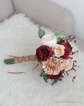 "Durchmesser 9 ""Boho rustikales Papier Brautstrauß – rote rustikale Pfingstrose, Boho Papier Hochzeit, Boho Bouquet   – Xmas wedding"
