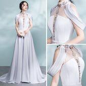 Moderne / Mode Grau durchbohrte Abendkleider 2017 A-Linie / Princess-Linie