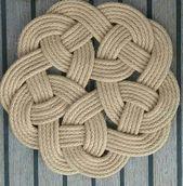 Scandinavian Knot Table Mat, Natural Rope, Rustic, Kringle Knot,  Nautical, Handmade, Jute Trivet Pan Stand, Housewarming Gift. Hand Sewn.