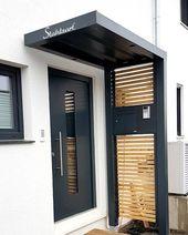 Modernes Vordach anthrazit von Stahlzart. Haustür…