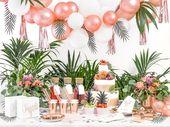 Sweet table Tropical Rose Gold #anniversaire #bapteme #babyshower