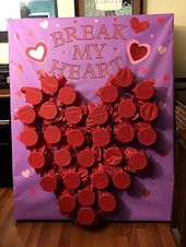 """Game for VDay party…. Kids punch through the cup to get a prize. """"Break My Hea…"""