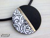 Noir blanc collier, collier géométrique, supply d'inspiration cadeau femme, noir blanc bijoux, collier moderne, cadeau femme, collier distinctive, cadeau