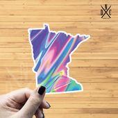Minnesota Holographic State Outline Vinyl Sticker, Travel, Laptop Decals, Stickers, Macbook Decal, S