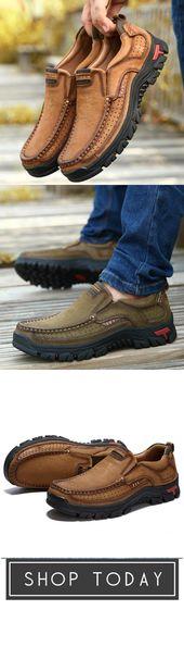 Zapatos casuales de cuero genuino sin cordones para hombre   – corey want list.